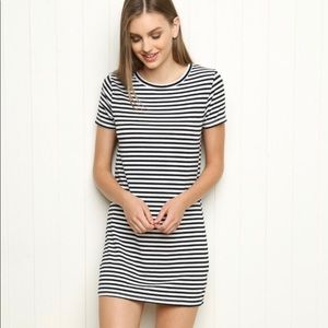 Brandy Melville White And Black Stripped Dress